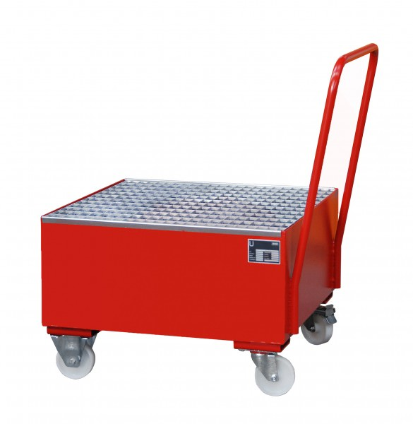 Bauer Südlohn® series 2000, mobile drip tray, steering and 2 buck rollers made of polyamide Ø 180 mm